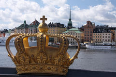 Swedish royal crown. The swedish royal crown overlooking the Old Town (Gamla Stan) of Stockholm Royalty Free Stock Photo