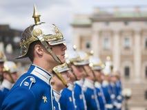Swedish Royal Guard. STOCKHOLM, SWEDEN - MAY 12: Swedish Royal Guard at the Royal Palace Square in Stockholm on May 12, 2009 in Stockholm, Sweden. The royal stock image