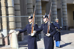 Swedish Royal Palace's Guards during march royalty free stock photography