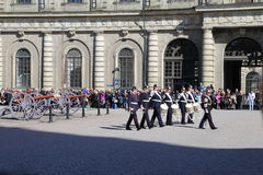 Swedish Royal Palace's militery band performance during changing ceremony royalty free stock photo