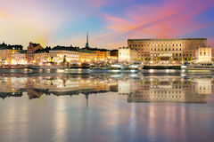 Swedish royal palace in Stockholm at night Stock Images