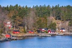 Swedish rural landscape, coastal village Stock Images