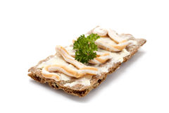 Swedish Rye Bread. With butter, caviar and parsley, Shallow d o f Royalty Free Stock Photos