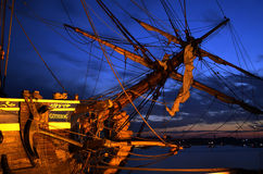 "Swedish sailing ship ""Götheborg"" in port at night. Stock Images"