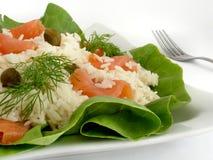Swedish salad. Made of rice and smoked salmon Royalty Free Stock Image