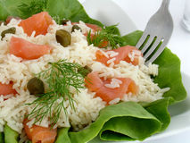 Swedish salad. Made of rice and smoked salmon Stock Photo