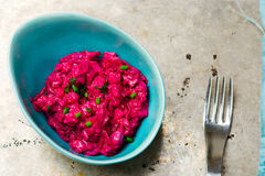 The Swedish salad from a herring and beet Royalty Free Stock Photos