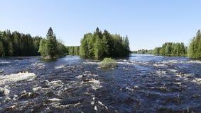 Swedish salmon area. Swedish natural salmon river in spring. Farnebofjarden national park in Sweden royalty free stock photo