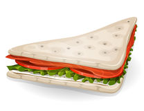 Swedish Sandwich Icon. Illustration of an appetizing cartoon fast food sandwich icon, with salmon fish slices, tomatoes, fresh cream and cheese, salad leaves Stock Photos