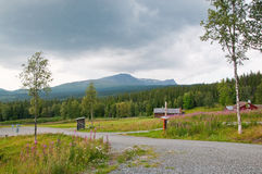 Swedish scenery. Scenic landscape near Ostersund in Northern Sweden on an overcast day Royalty Free Stock Image