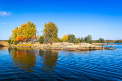Swedish sea archipelago in autumn season Stock Photography