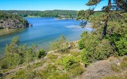Swedish sea fjord in summer scenery Royalty Free Stock Photos