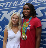 Swedish singer and songwriter Zara Larsson L and Rio 2016 Olympics Champion swimmer Simone Manuel Royalty Free Stock Photography