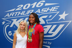 Swedish singer and songwriter Zara Larsson L and Rio 2016 Olympics Champion swimmer Simone Manuel royalty free stock photos