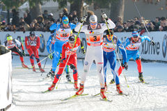 Swedish Skier Halfvarsson - Milan Race in the City Royalty Free Stock Photography