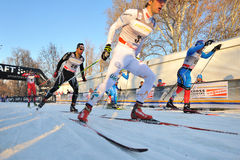 Swedish Skier Peterson in Milan Race in the City Royalty Free Stock Images
