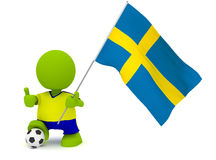 Swedish Soccer. Illustration of a man in a Swedish soccer jersey with a ball holding a flag. Part of my cute green man series Stock Images