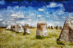 Swedish standing stones Royalty Free Stock Images