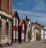 Swedish street. Old swedish houses Stock Photos