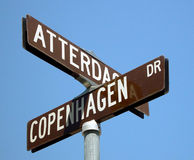 Swedish street sign. This is a swedish street sign, taken at a swedish town, located in southern california Royalty Free Stock Photography