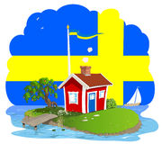 Swedish summer cottage dream. A summer cottage on a smal island and a Swedish flag Royalty Free Stock Images