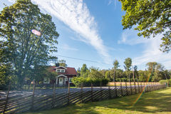 Swedish summer. House in the country side stock photo