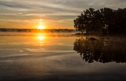Swedish summer lake in the morning. Summer morning scenery on Swedish lake stock photos