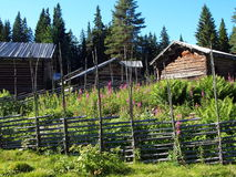 Swedish summer pasture Skräddar-Djurberga. Skräddar-Djurberga is a very well-preserved Sommeralm with a house from the 1920s, but also with very original, old Royalty Free Stock Images