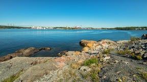 Swedish summer sea coast panorama with Karlshamn city background Stock Images