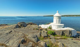 Swedish summer sea coast view with lighthouse Royalty Free Stock Photos