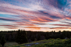 Swedish sunset over rural area Stock Image