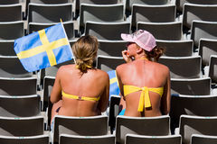 Swedish supporters. BARCELONA - JULY 28: European Athletics Championships Barcelona 2010. In the picture, two swedish supporters. July 28, 2010 in Barcelona ( Stock Photos