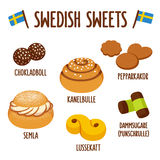 Swedish sweet set vector illustration