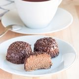 Swedish sweets Arrack balls, made from cookie crumbs, cocoa, but. Ter and coconut wine Arrack flavour, square format, on a white plate Royalty Free Stock Photos