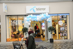 SWEDISH TELIA  AND NORWEGIAN TELENOR. Copenhagen / Denmark_ 18th. November 2016 _Contender Swedish telia and Norwegain Telenor telepone providers on Kobmagergade Stock Images