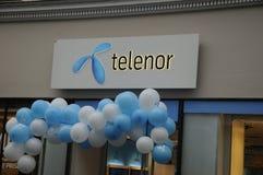 SWEDISH TELIA  AND NORWEGIAN TELENOR. Copenhagen / Denmark_ 18th. November 2016 _Contender Swedish telia and Norwegain Telenor telepone providers on Kobmagergade Stock Image