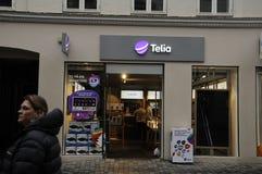 SWEDISH TELIA  AND NORWEGIAN TELENOR. Copenhagen / Denmark_ 18th. November 2016 _Contender Swedish telia and Norwegain Telenor telepone providers on Kobmagergade Royalty Free Stock Image