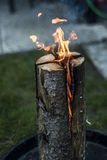 Swedish torch fire burning stub on plate for rest or to cook food chill mood Royalty Free Stock Image