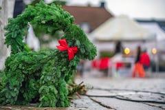 Swedish traditional Christmas spruce decoration on the street market royalty free stock image