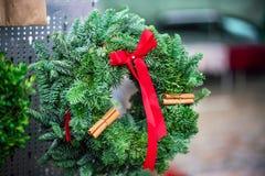 Swedish traditional Christmas spruce decoration on the street market stock image