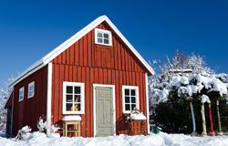Swedish workhouse in winter. Swedish typical workhouse in winter scenery Royalty Free Stock Photos