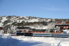 Swedish village. Swedish winter resort Storlien in winter Stock Photo