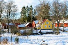 Swedish village in winter Stock Photos