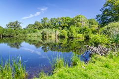 Swedish water pond in summer. Beautiful summer scenery with Swedish lake stock images