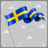 Swedish wavy flag. Vector illustration. Royalty Free Stock Photos