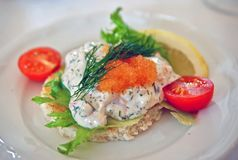 Swedish westcoast delicacy Räkmacka shrimp sandwich. A really tasty and popular delicacy in Sweden - räkmacka. Tihs was served as a starter at a wedding royalty free stock image