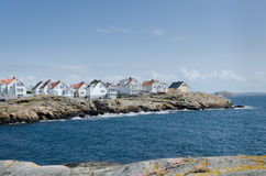 Swedish westcoast many house. A little island on the swedish westcoast blue sky and it is blowing Stock Photography