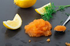 Swedish Whitefish Roe. Lemon and dill stock photos