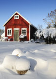 Swedish workhouse in winter season. Typical Swedish workhouse covered by December snow Stock Images