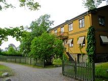 Swedish yellow cabin Royalty Free Stock Photos